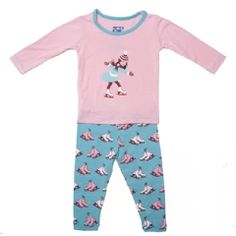 Print Long Sleeve Pajama Set in Glacier Ice Skates