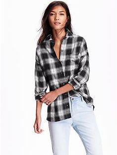 Women's Plaid Flannel Boyfriend Shirt | Old Navy