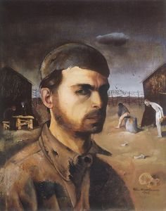 Felix Nussbaum (German, 1904-1944)  Self-Portrait in the Camp, 1944.  (Murdered at Auschwitz, August 1944) Click through for article.