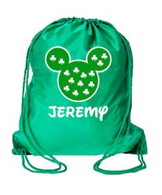 Personalized Disney Clover Drawstring Backpack Mickey by WBBlvd