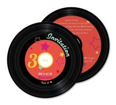 Carte invitation anniversaire Vinyl retro (RO1-332)