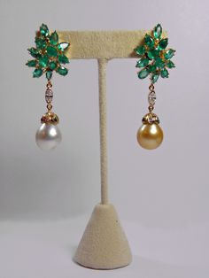 12 87cts Emerald Diamond Pearl Cluster Dangle Earrings 18K Red Carpet Style | eBay