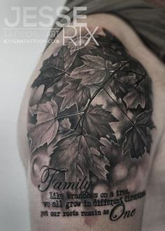 25 fall leaves tattoos black and gray Love this, but wish it was in colour