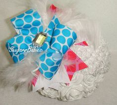 Boutique Bow Hair Bow Aqua Boutique Hairbow Over by SuugarrBabies, $12.00
