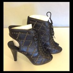 New Kelsi Dagger Black Studded Open Bootie New in box, no defects. Lace up front, open heel and toe. 4.5 inch heel. Silver studs. Kelsi Dagger Shoes