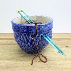 Yarn Bowl: cobalt blue and white faux cable knit sweater texture, functional ceramic bowl for storage organizing yarn, knitting or crochet