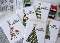 Christmas Cards - Christmas card set for Altenew November Challenge - Pintock Christmas Cards 2018, Simple Christmas Cards, Christmas Card Crafts, Handmade Christmas, Holiday Cards, Christmas Card Designs, Christmas Print, Easy Diy Xmas Cards, Diy Valentines Cards