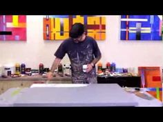 How to Paint Large Abstract Fluid Artworks Demo Art Lesson Ideas - YouTube