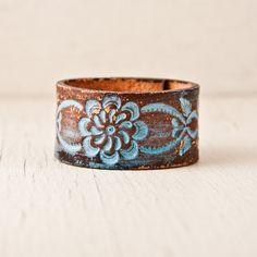 Leather Cuff for Woman Handmade Bracelet Wristband by rainwheel, $32.00