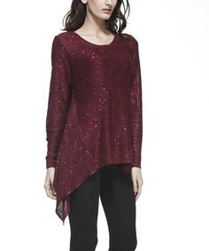 Simply Couture Red Shimmer Sidetail Tunic   zulily