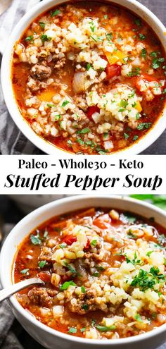 """This stuffed pepper soup is loaded with everything you're craving! Italian spices, savory ground beef, garlic and onions, bell peppers, and cauliflower """"rice"""" make this a hearty soup that's also supe Keto Stuffed Peppers, Stuffed Pepper Soup, Whole 30 Stuffed Peppers, Paleo Recipes, Cooking Recipes, Dairy Free Rice Recipes, Gluten Free Recipes Instant Pot, Hearty Soup Recipes, Chili Recipes"""