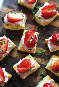 """Strawberry Puff Pastry Bites from Bev Cooks.  She randomly breaks out in lines from """"America the Beautiful"""" in her post - love it!"""
