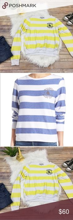 "{Wildfox} Striped oversized ""Yacht Club"" sweater Flaunt your nautical ambitions with pride in a super-cozy, relaxed-fit pullover emblazoned with sea-blue or yellow stripes and a posh chest logo. Crewneck. Long sleeves. 47% rayon, 47% polyester, 6% spandex. Wildfox Sweaters Crew & Scoop Necks"