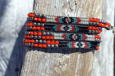 Black Red Blue and Silver 5 wrap bracelet by TedeesStones on Etsy