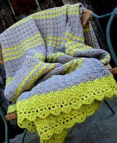 Afghan Blanket Crochet Gray grey