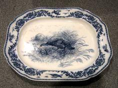 "Cauldon Flow Blue 21"" Turkey Platter"