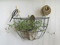 little garden basket on hooks for the craft room - Rustic Farmhouse