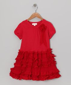 Take a look at this Red Ruffled Dress - Infant, Toddler & Girls on zulily today!