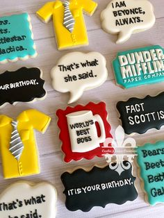 1 Dozen The Office TV Show Dunder Mifflin It's Your Birthday Decorated Sugar Cookies Office Themed Party, Office Birthday, 13th Birthday Parties, Birthday Desserts, Themed Birthday Cakes, Birthday Cookies, Themed Cakes, It's Your Birthday, Baby Cookies