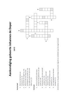 Kruiswoordpuzzel - Aankondiging geboorte Johannes de Doper [Lukas 1]