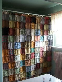 Rag Valance | homespun rag shower curtains | ... that I traded with for homespun or ...