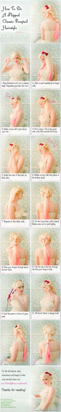 Classic Flipped Hairstyle Tutorial | Violet LeBeaux- Cute Free Craft Tutorials