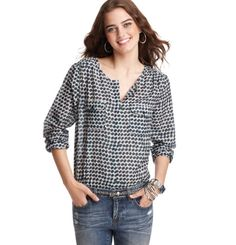 Loft - LOFT New Arrivals - Blurred Dot Print Utility Blouse