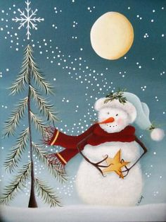 Wish Upon a Star Whimsical Snowman Tole Painting Pattern - DIY and Crafts Christmas Canvas, Christmas Paintings, Christmas Snowman, Christmas Projects, Holiday Crafts, Christmas Ornaments, Snowmen Paintings, Christmas Ideas, Tole Painting Patterns