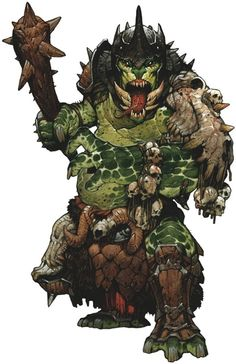 A Troll King: one of the gravest dangers to travelers and townsfolk alike, Troll Kings lead bands of trolls on brutal raids. They often wear the best armor and weapons the Trolls under his charge can muster, wielding them with deadly efficiency.