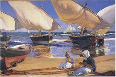 'sur la plage à `valencia` 1', huile de Joaquin SOROLLA Y BASTIDA (1863-1923, Spain)