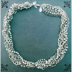 American Eagle mixed media necklace Twisted strands of rhinestones, pearls, and silver link chains, very pretty statement necklace from American Eagle Outfitters.   #aeo #americaneagle #americaneagleoutfitters #statementnecklace American Eagle Outfitters Jewelry Necklaces