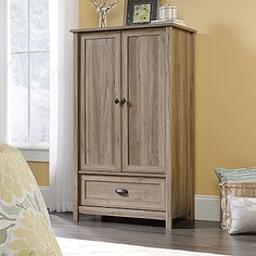 Sauder County Line Armoire, Salt Oak finish Door Storage, Bedroom Storage, Storage Spaces, Tall Cabinet Storage, Storage Area, Hidden Storage, Extra Storage, Home Office, Small Office