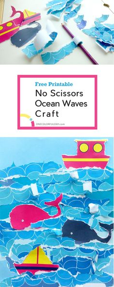 A fun craft activity for toddlers and younger kids- a no scissors ocean waves craft. Rip up the patterned paper to make organic wave shapes, than glue them on to create a beautiful collage. Let your toddlers, preschoolers and even older kids be creative.
