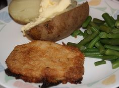 Never-Fail Baked Pork Chops Ingredients: 4boneless pork chops, 1/4 cbutter or margarine (melted and kept warm), 1/2 citalian bread crumbs, 3 Tbsp grated parmesan cheese