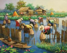 Watercolor Artists, Watercolor Portraits, Artist Painting, Watercolor Paintings, Chinese Landscape Painting, Landscape Paintings, Vietnam, Filipino Art, Composition Painting