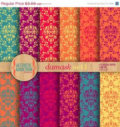 75% OFF Pink Green Purple Blue Damask by aestheticaddiction
