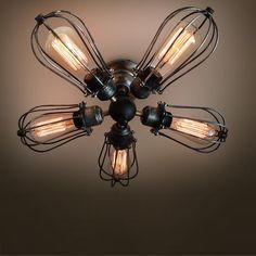5 bras industrielle ampoule Edison de la lumière au plafond plafond lampes steampunk 2016 nouvelle rustique feux de cage de fer ventilateur de plafond lampe(China (Mainland))