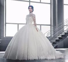 vestido de noiva renda manga longa rodado princesa importado