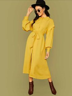 Lantern Sleeve Button Front Belted Coat