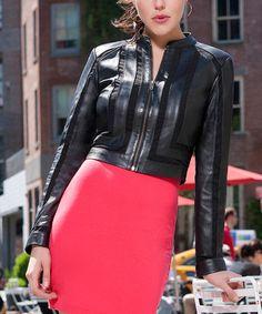 Look what I found on #zulily! Black Crop Leather Jacket - Women & Plus by Whet blu #zulilyfinds