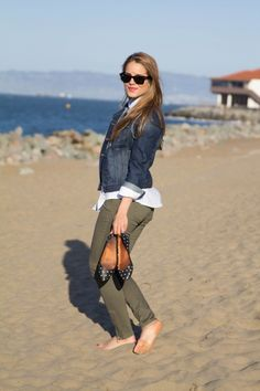 white button-up, denim jacket, army green pants, polka dot flats