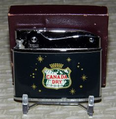 Vintage Canada Dry Cigarette Lighter by Penguin, Made in Japan, NOS. Cool Lighters, Cigar Lighters, Zippo Collection, Soda Brands, Zippo Lighter, Cigarette Case, Patent Prints, Vintage Lighting, Ant