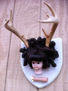 Deer Dolly with Brown Eyes and Brunette Banana Curls on Etsy by BoneLust