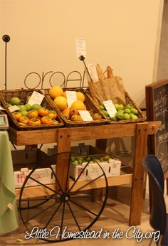 DIY Vegetable Cart! Love this idea! I love this idea for my kitchen.  Easy and quick for the kids to get their fruit.