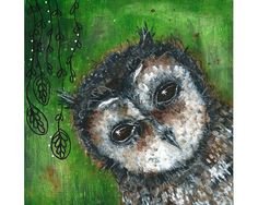 The owl who knew - original painting by Micki Wilde