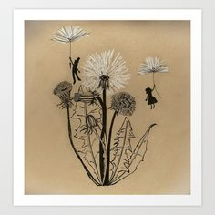 Dandelion Art Print by K. Botanical Drawings, Botanical Art, Illustrations, Illustration Art, Dandelion Art, Nature Sketch, Doodle Inspiration, Toned Paper, Watercolor Sketch