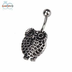 Owl Dangle Button Barbell Belly Navel Ring