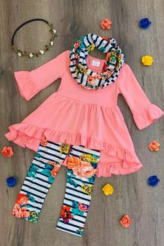 Natalie Navy Floral Hi-Low Tunic Scarf Set Baby Outfits, Outfits Niños, Little Girl Outfits, Cute Outfits For Kids, Toddler Girl Outfits, Little Girl Fashion, Girly Outfits, Toddler Fashion, Kids Fashion