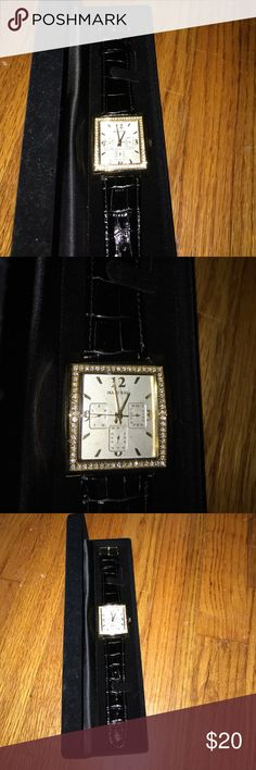 Mary Kay Watch Black leather band with diamond embroidered edge. Never worn 10/10 condition, however needs battery . Selling because I don't wear watches ! Mary Kay Accessories Watches