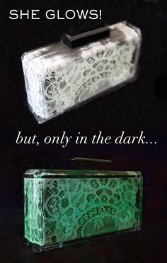 Only In the Dark glow in the dark hand painted Chantilly lace acrylic clutch - STEFANIE PHAN